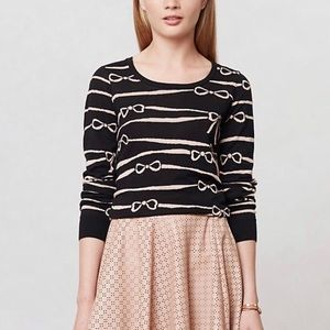 Anthropologie Monogram ribbon rule bow sweater